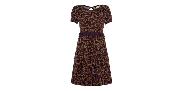 Dámske tmavé šaty s fialovými kvetinami Yumi