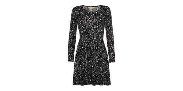 Dámske čierne šaty s kvetinami Yumi