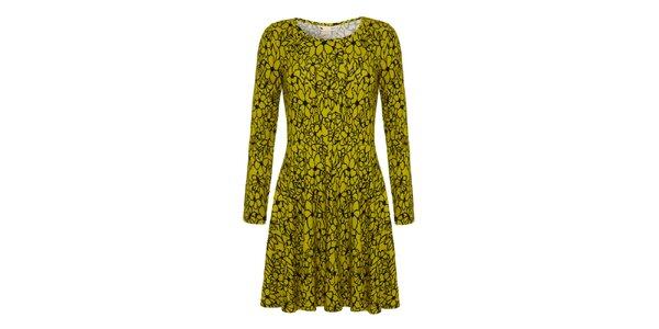 Dámske limetkové šaty s kvetinami Yumi