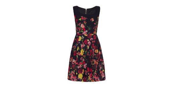 Dámske čierne šaty s farebnými kvetmi Yumi
