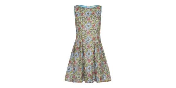 Dámske zeleno-modro-korálové šaty Yumi