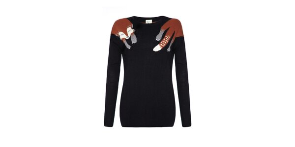 Dámsky čierny sveter s líškou Yumi