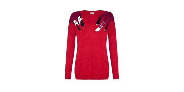 Dámsky červený sveter s líškou Yumi