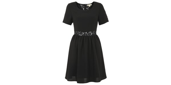 Dámske čierne šaty s čipkovým pruhom v páse Yumi