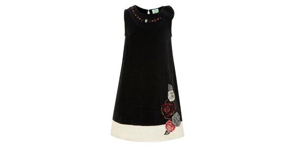 Dievčenské čierne šaty s kvetinami Uttam Boutique