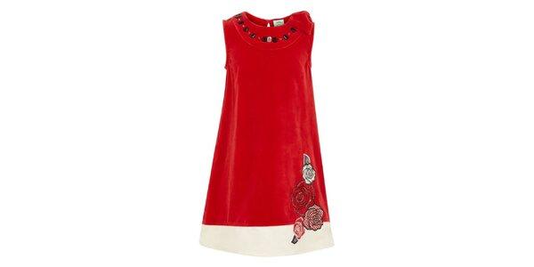 Dievčenské červené šaty s kvetinami Uttam Boutique