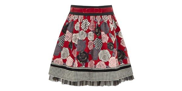 Dievčenská červená sukňa s ružami Uttam Boutique