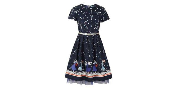 Dievčenské modré šaty s princeznami Uttam Boutique