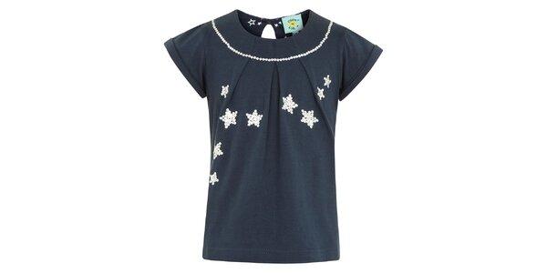 Dievčenské modré tričko s flitrovými hviezdami Uttam Boutique