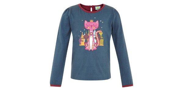 Detské petrolejové tričko s mačičkou Uttam Boutique