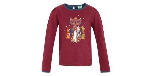Detské vínové tričko s mačičkou Uttam Boutique