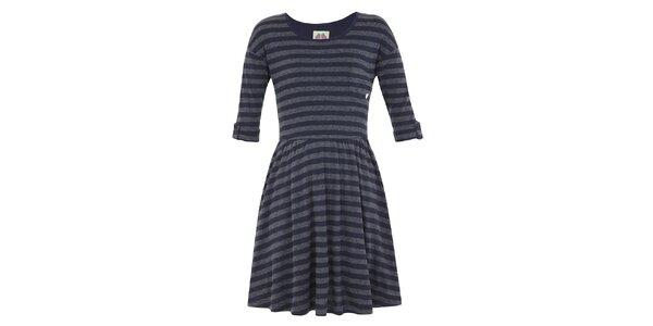 Dievčenské modro-šedé šaty s prúžkom Yumi