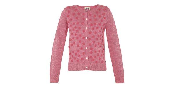 Dievčenský ružový svetrík s kvetinami Yumi