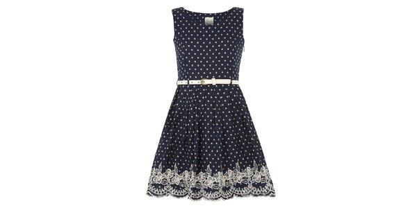 Dievčenské tmavomodré šaty s bodkami Yumi
