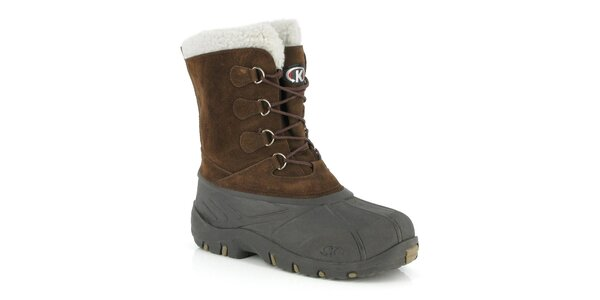 Pánske hnedé topánky s bielym kožúškom Kimberfeel