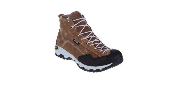 Pánske hnedé teplé šnurovacie topánky Kimberfeel