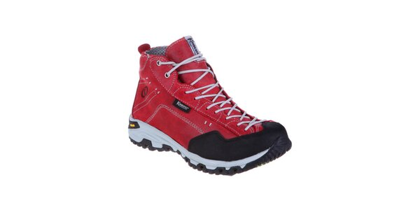 Dámske červené členkové topánky so šnúrkami Kimberfeel