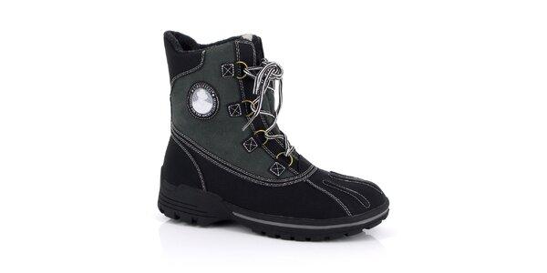 Pánske čierne členkové topánky s nášivkou Kimberfeel