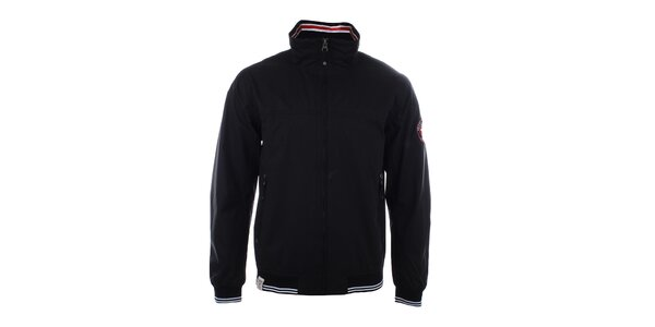 Pánska čierna bunda s pruhovanými lemami Trimm