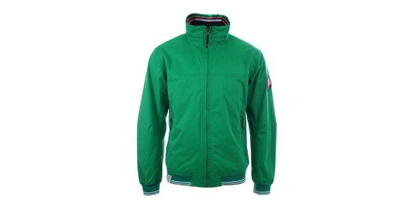 Pánska zelená bunda s pruhovanými lemami Trimm