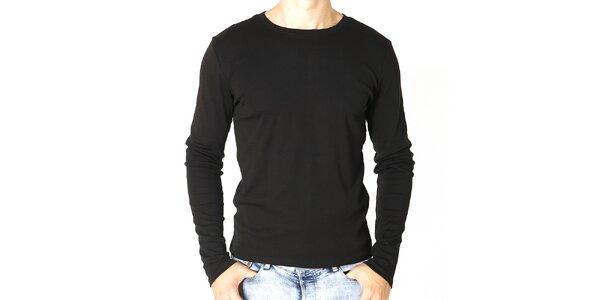 Pánske čierne tričko s dlhým rukávom Santa Barbara