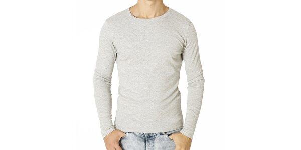 Pánske svetlo šedé tričko s dlhým rukávom Santa Barbara