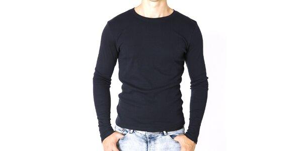 Pánske tmavo modré tričko s dlhým rukávom Santa Barbara
