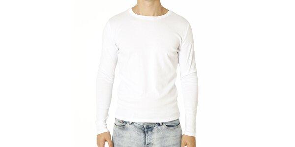 Pánske biele tričko s dlhým rukávom Santa Barbara