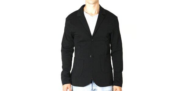Pánske bavlnené čierne sako Santa Barbara