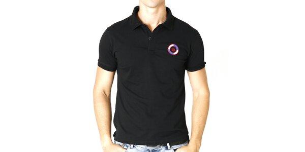 Pánske čierne polo tričko s guľatou nášivkou Santa Barbara
