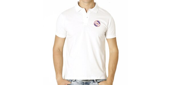 Pánske biele polo tričko s guľatou nášivkou Santa Barbara