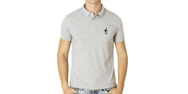 Pánske svetlo šedé polo tričko s krátkym rukávom Santa Barbara