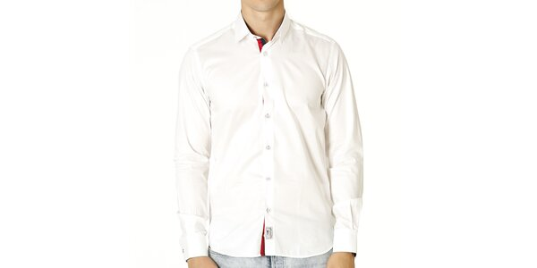 Pánska biela košeľa s kontrastným zapínaním Santa Barbara
