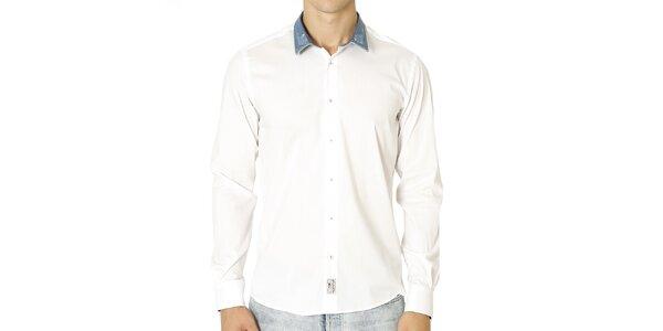 Pánska biela košeľa so svetlo modrým golierom Santa Barbara
