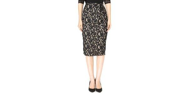 Dámska béžová sukňa s čiernou čipkou Santa Barbara
