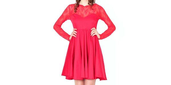 Dámske červené šaty s čipkou Santa Barbara