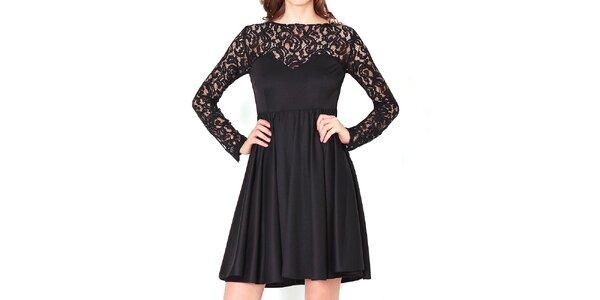 Dámske čierne šaty s čipkovými rukávmi Santa Barbara