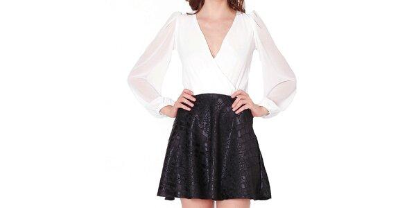 Dámske biele šaty s čiernou sukňou Santa Barbara