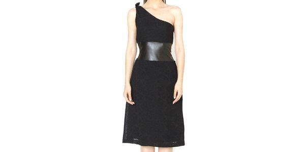 Dámske čierne šaty s voľným ramenom Santa Barbara