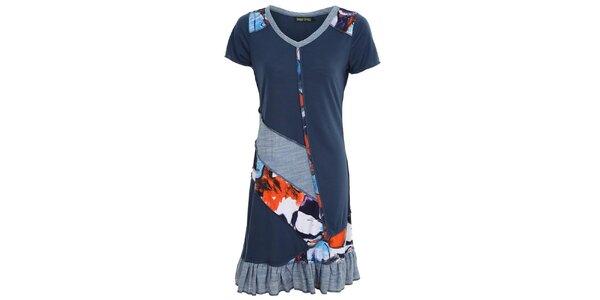 Dámske modré šaty s volánom Sugar Crisp