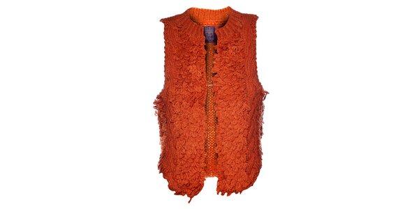 Dámska oranžová pletená vesta Hope