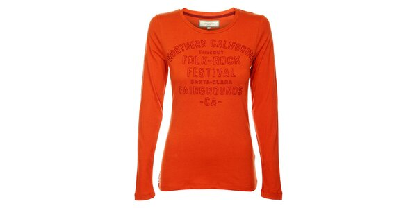 Dámske oranžové tričko Timeout s výšivkou