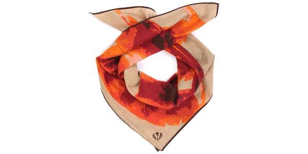 Dámska oranžovo-béžová bavlnená šatka Fraas