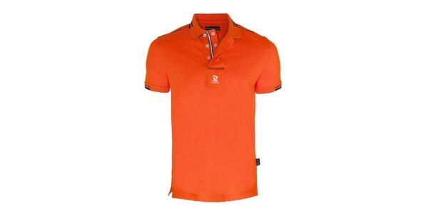 Pánske oranžové polo tričko s dvojradovým límčekom Giorgio di Mare