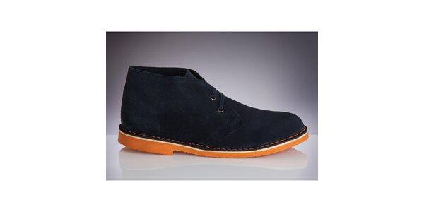 Pánske tmavo modré topánky s oranžovou podrážkou Roamers