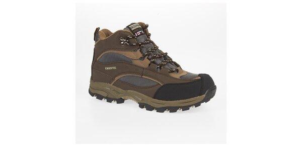 Unisex hnedé trekové členkové topánky Kimberfeel