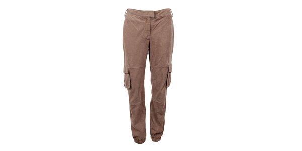Dámske svetlo hnedé semišové nohavice Company&Co