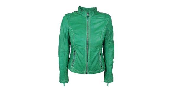 Dámska zelená kožená bundička s prešívaním Company&Co