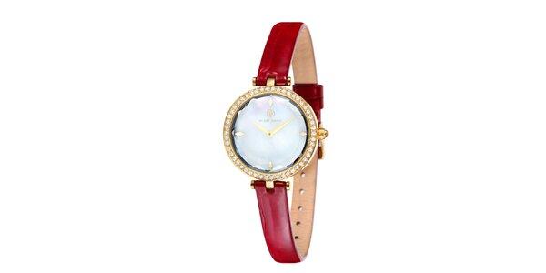 Dámske zlato zafarbené hodinky s perleťovým ciferníkom Klaus Kobec