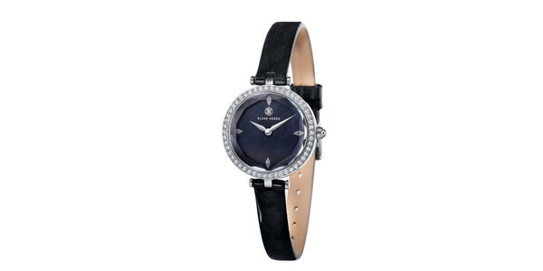Dámske čierne hodinky s bielymi kamienkami Klaus Kobec